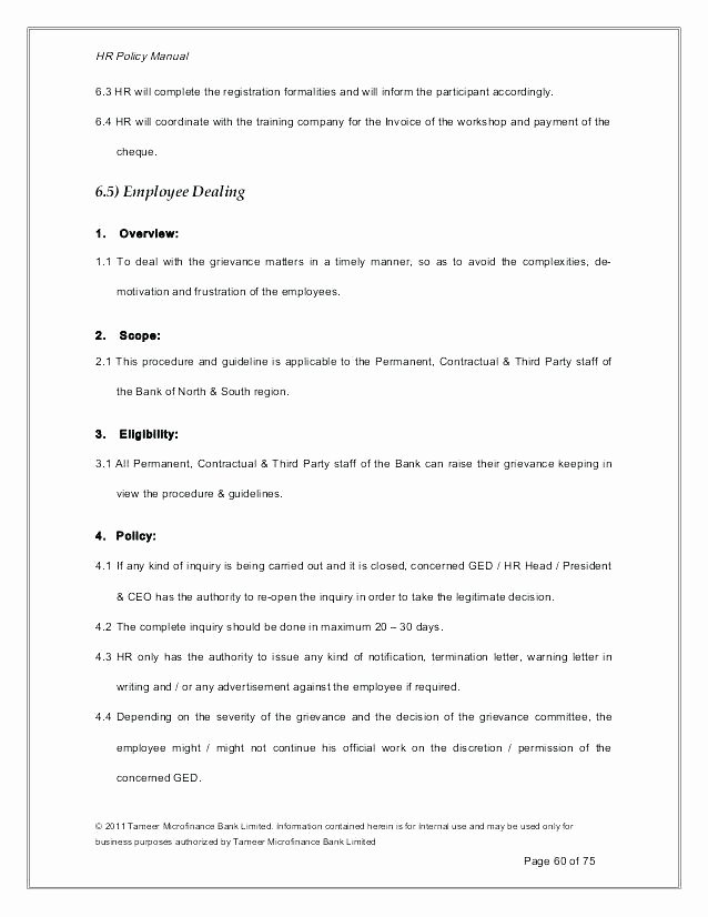 Human Resources Policy Template Inspirational Policy Manual Template Hr Policy Manual Example