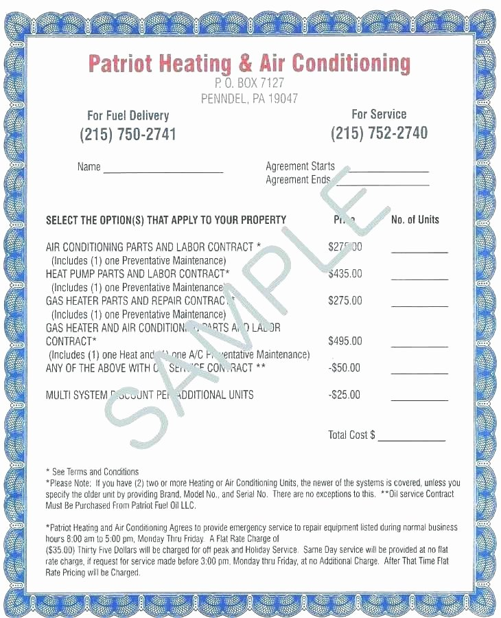 Hvac Maintenance Agreement Template Awesome Hvac Contract Template – Crookedroad