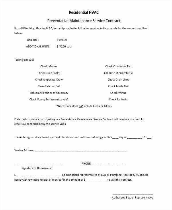 Hvac Maintenance Agreement Template Beautiful 6 Sample Residential Service Contracts