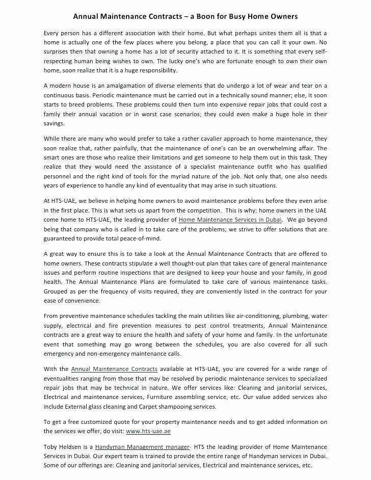 Hvac Maintenance Agreement Template Beautiful Ac Maintenance Contract format forms – Btcromaniafo