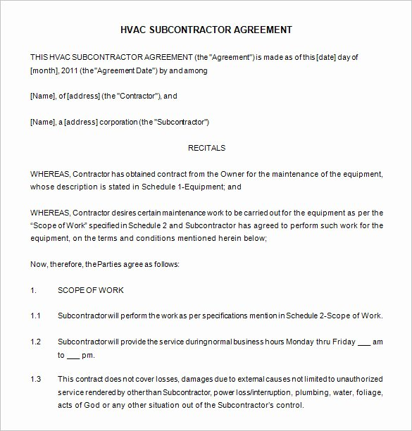 Hvac Maintenance Agreement Template Best Of 20 Maintenance Contract Templates Docs Word Pages