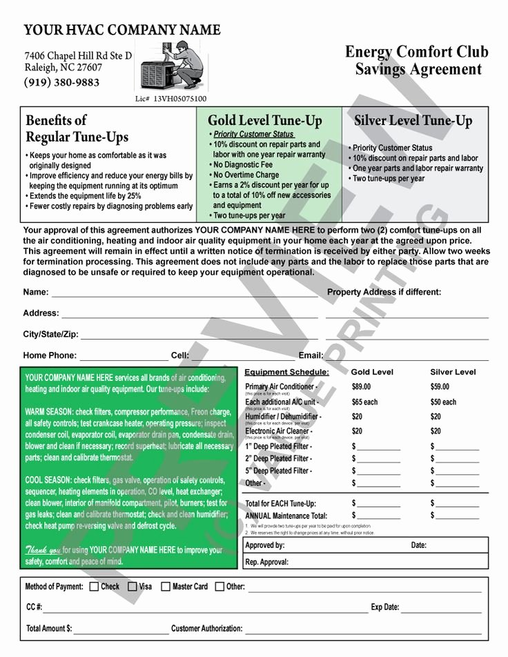 Hvac Maintenance Agreement Template Best Of This Hvac Maintenance Contract Has A Backside Terms and