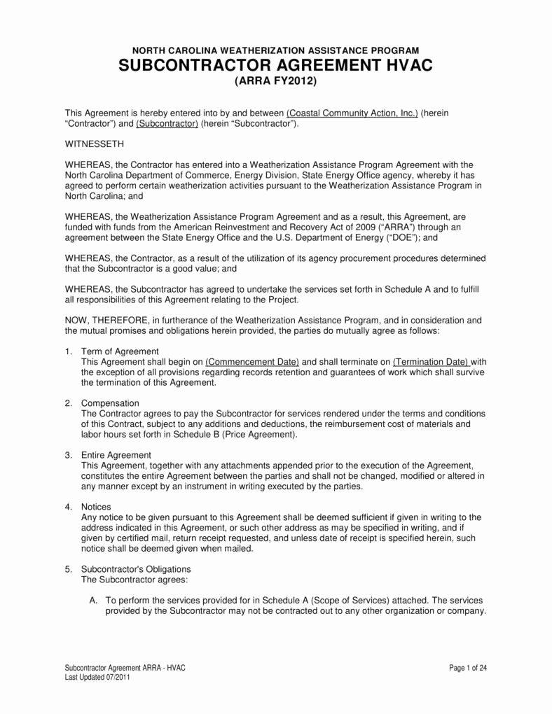 Hvac Maintenance Agreement Template Elegant 7 Hvac Contract Templates for Services Pdf