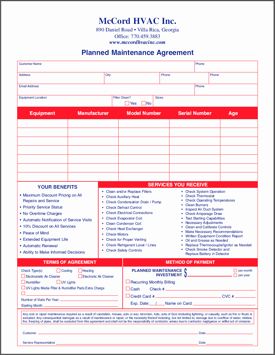 Hvac Maintenance Agreement Template Elegant Mccord Hvac Inc Planned Maintenance