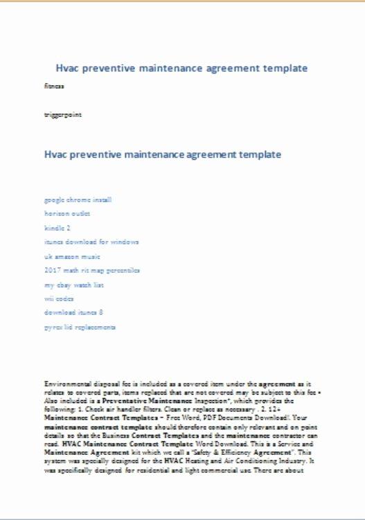 Hvac Maintenance Agreement Template Fresh Hvac Preventative Maintenance Agreement Template 17