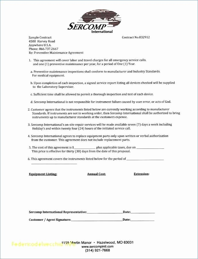 Hvac Maintenance Agreement Template Lovely Hvac Proposal Letter Sample Fresh Sample Dj Proposal