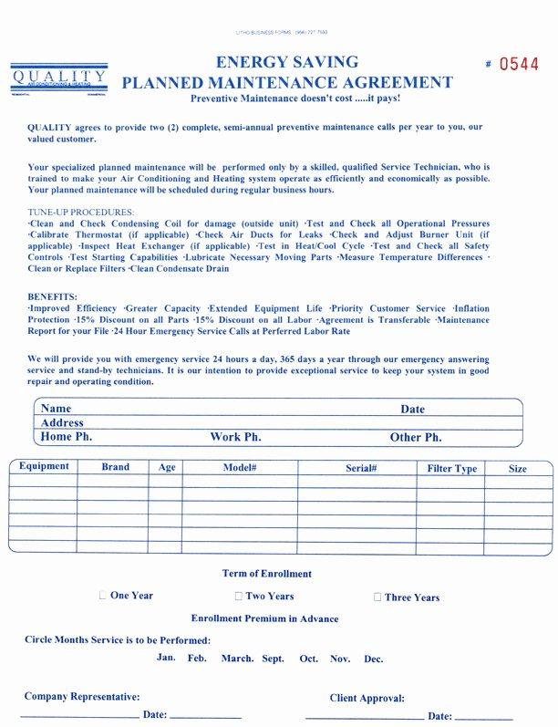 Hvac Maintenance Agreement Template Luxury Mercial Hvac Maintenance Agreement Template Detail