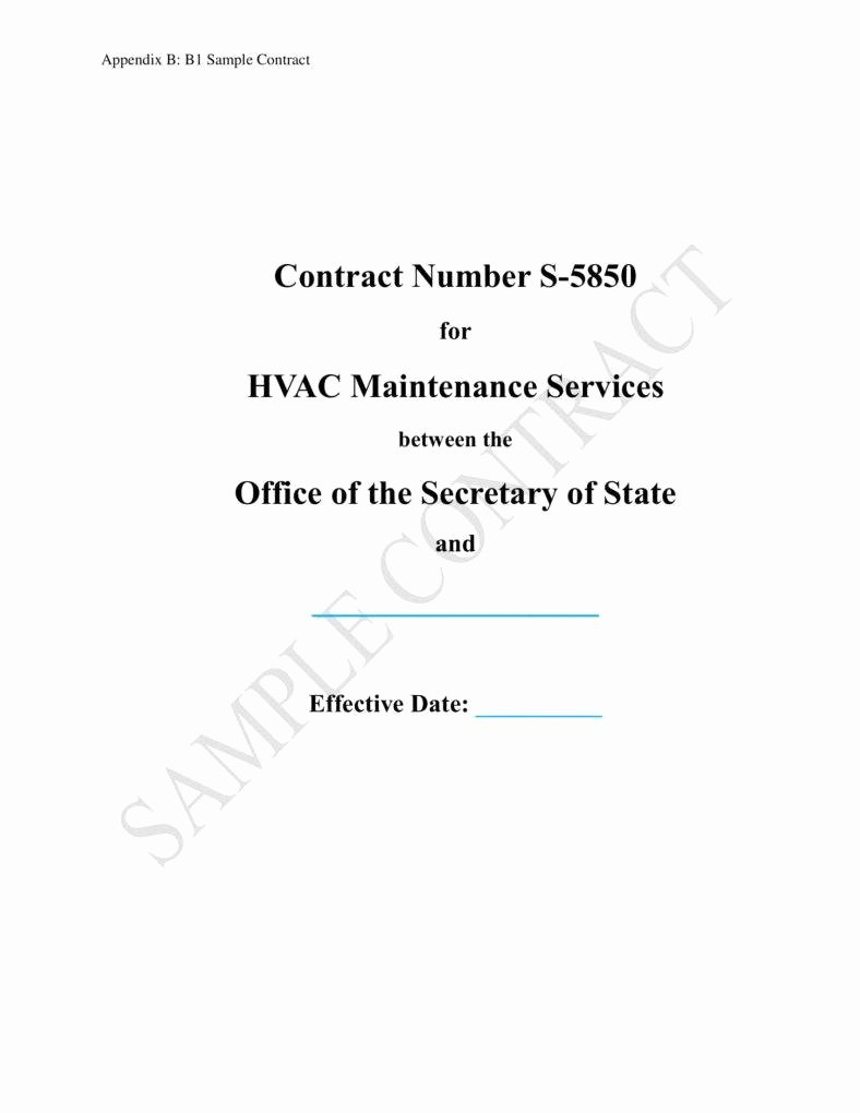 Hvac Maintenance Contract Template Fresh 7 Hvac Contract Templates for Services Pdf