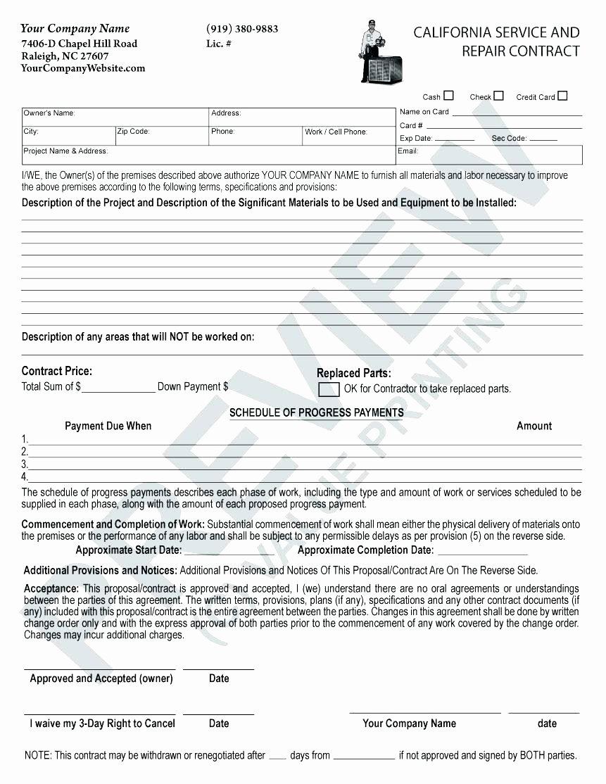 Hvac Maintenance Contract Template Inspirational Free Hvac Service Agreement Template