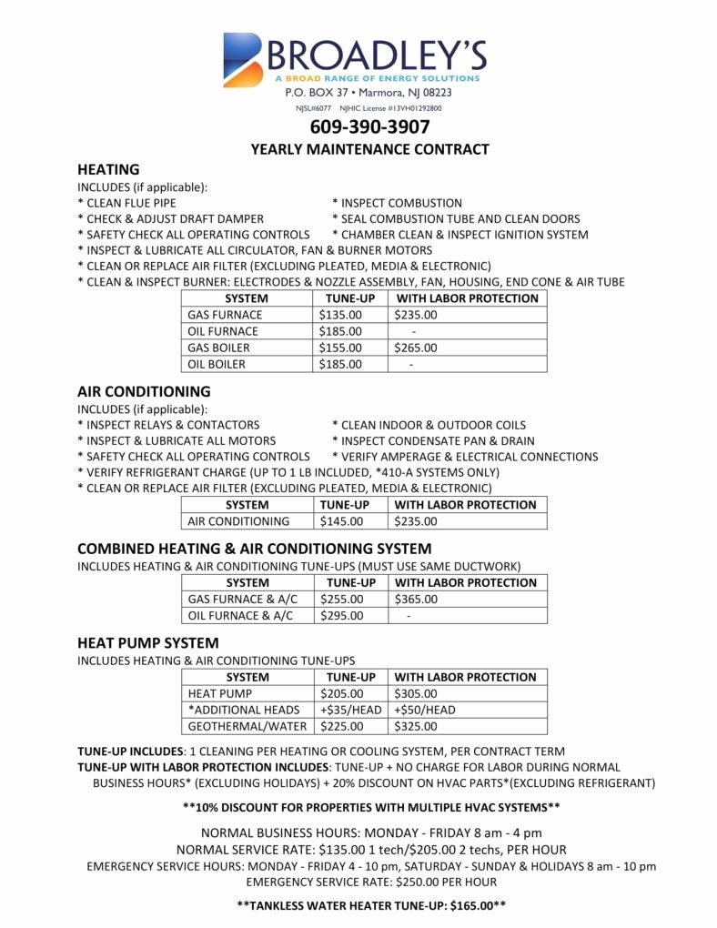 Hvac Maintenance Contract Template Luxury 7 Hvac Contract Templates for Services Pdf