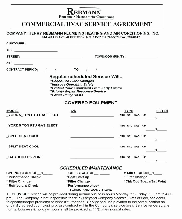 Hvac Maintenance Contract Template New Master Service Agreement Template Equipment Contract