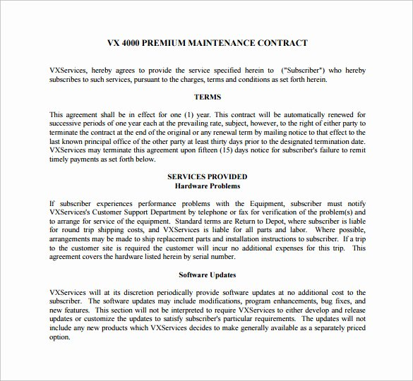 Hvac Maintenance Contract Template Unique 14 Maintenance Contract Templates to Download for Free