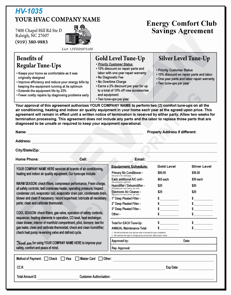 Hvac Maintenance Contract Template Unique Mercial Hvac Maintenance Agreement forms Templates