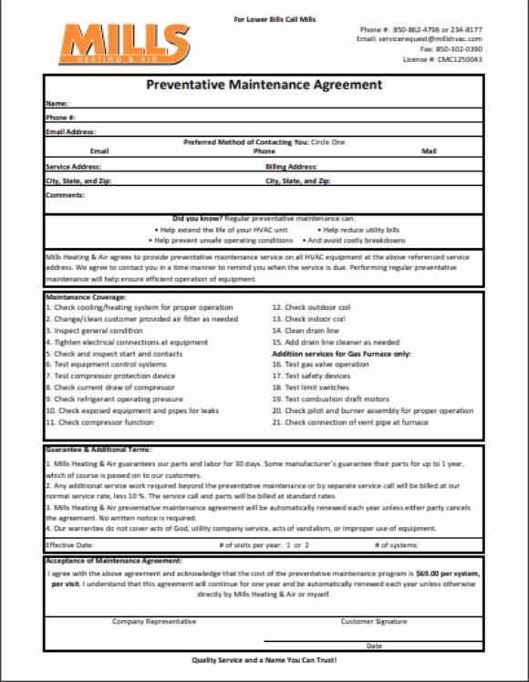 Hvac Preventive Maintenance Agreement Template Beautiful Hvac Preventative Maintenance Agreement Template 17