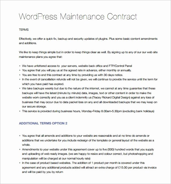 Hvac Preventive Maintenance Agreement Template Inspirational 14 Maintenance Contract Templates to Download for Free
