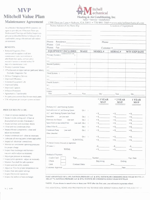 Hvac Preventive Maintenance Agreement Template Lovely Preventive Maintenance Agreement Template – Hafer