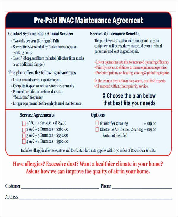 Hvac Preventive Maintenance Agreement Template New 9 Maintenance Agreement – Free Downloadable Samples