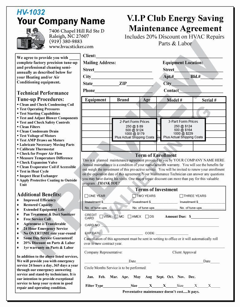 Hvac Service Agreement Template Beautiful Hvac Maintenance Contract forms Free Printable Documents