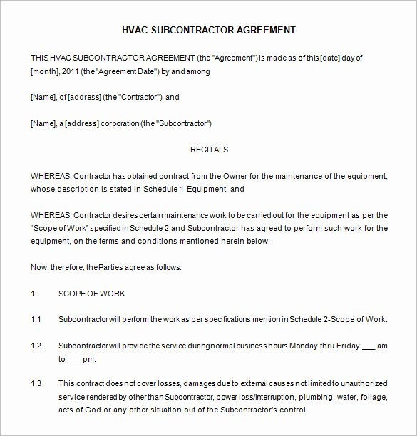 Hvac Service Agreement Template Beautiful Mercial Hvac Maintenance Contract Template Templates