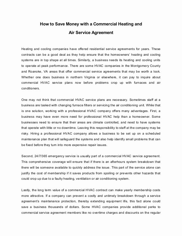 Hvac Service Agreement Template Inspirational How to Save Money with A Mercial Heating and Air