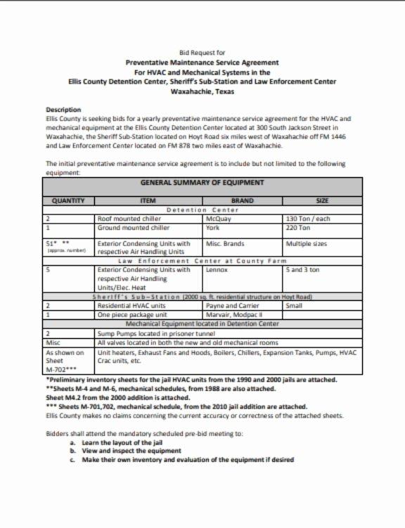 Hvac Service Agreement Template Lovely Hvac Preventative Maintenance Agreement Template 17