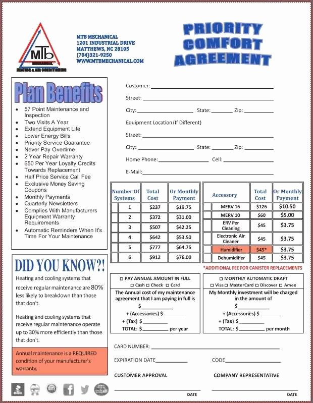 Hvac Service Contract Template Best Of 46 Perfect Hvac Preventive Maintenance Agreement Template