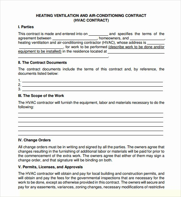 Hvac Service Contract Template Elegant Service Agreement Template 8 Free Samples Examples
