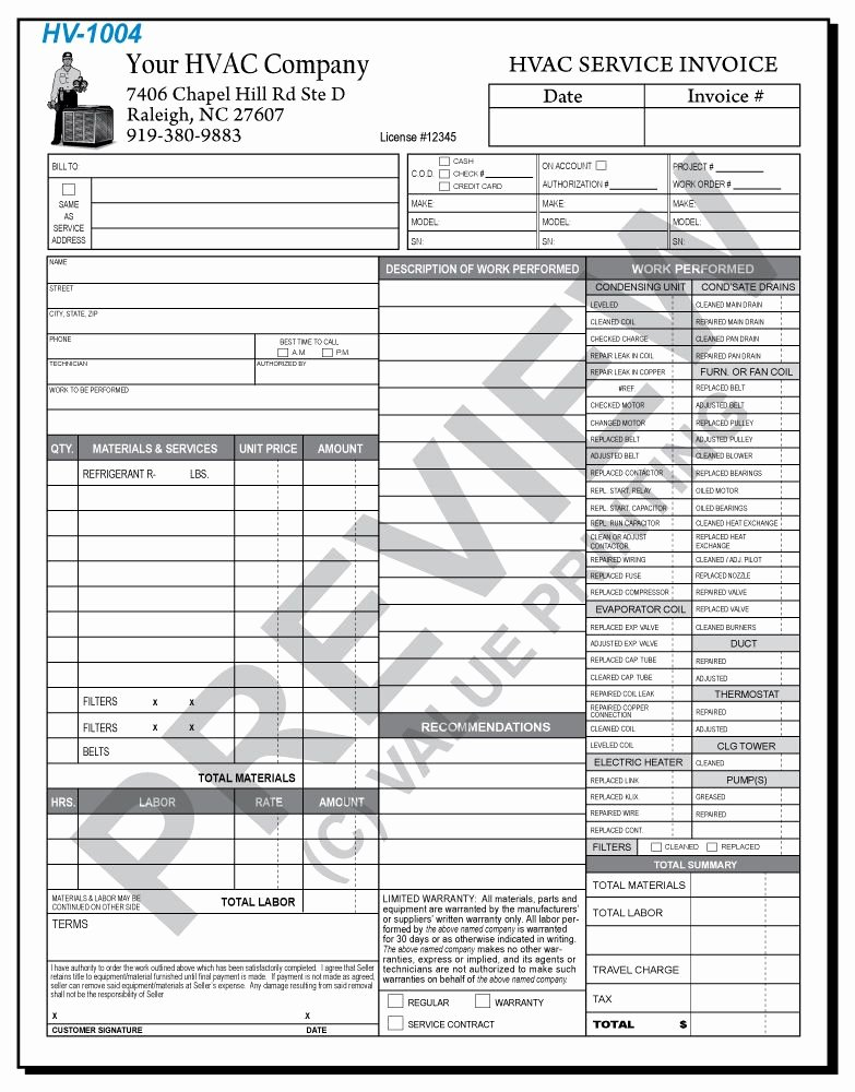 Hvac Service Contract Template Unique Hv 1004 Hvac Time & Materials Work order Invoice 2