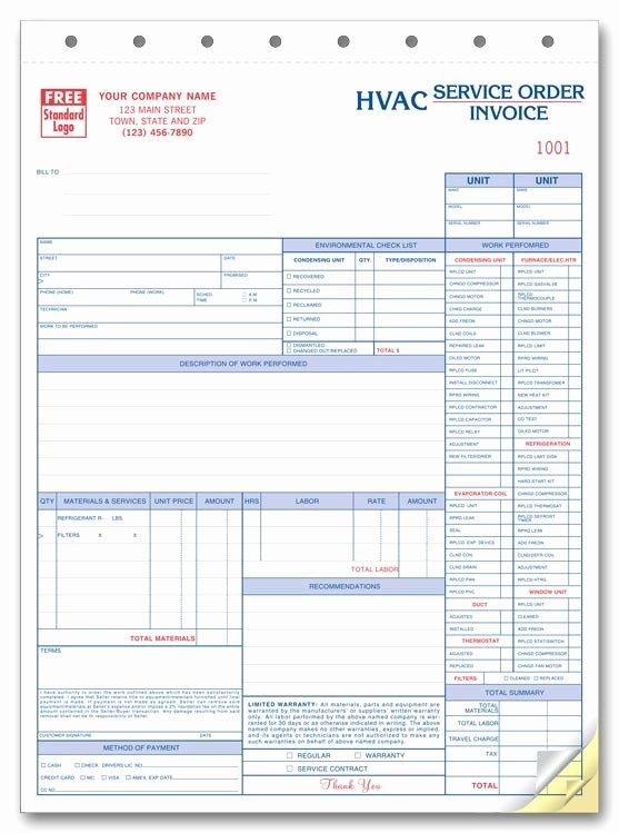 Hvac Service order Invoice Template Beautiful Hvac Invoice Template