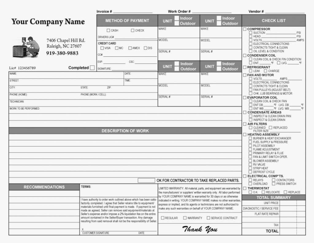 Hvac Service order Invoice Template Beautiful Hvac Service order Invoice Template Spreadsheet Free