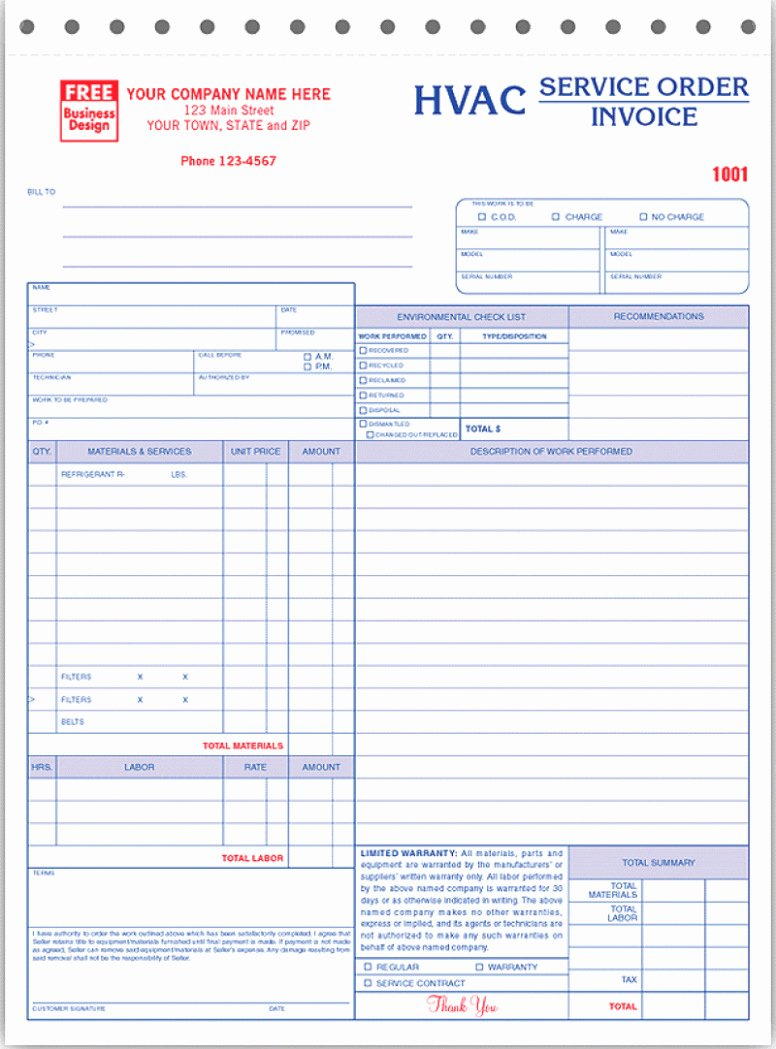 Hvac Service order Invoice Template Best Of Hvac Service order Invoice Template Spreadsheet Free
