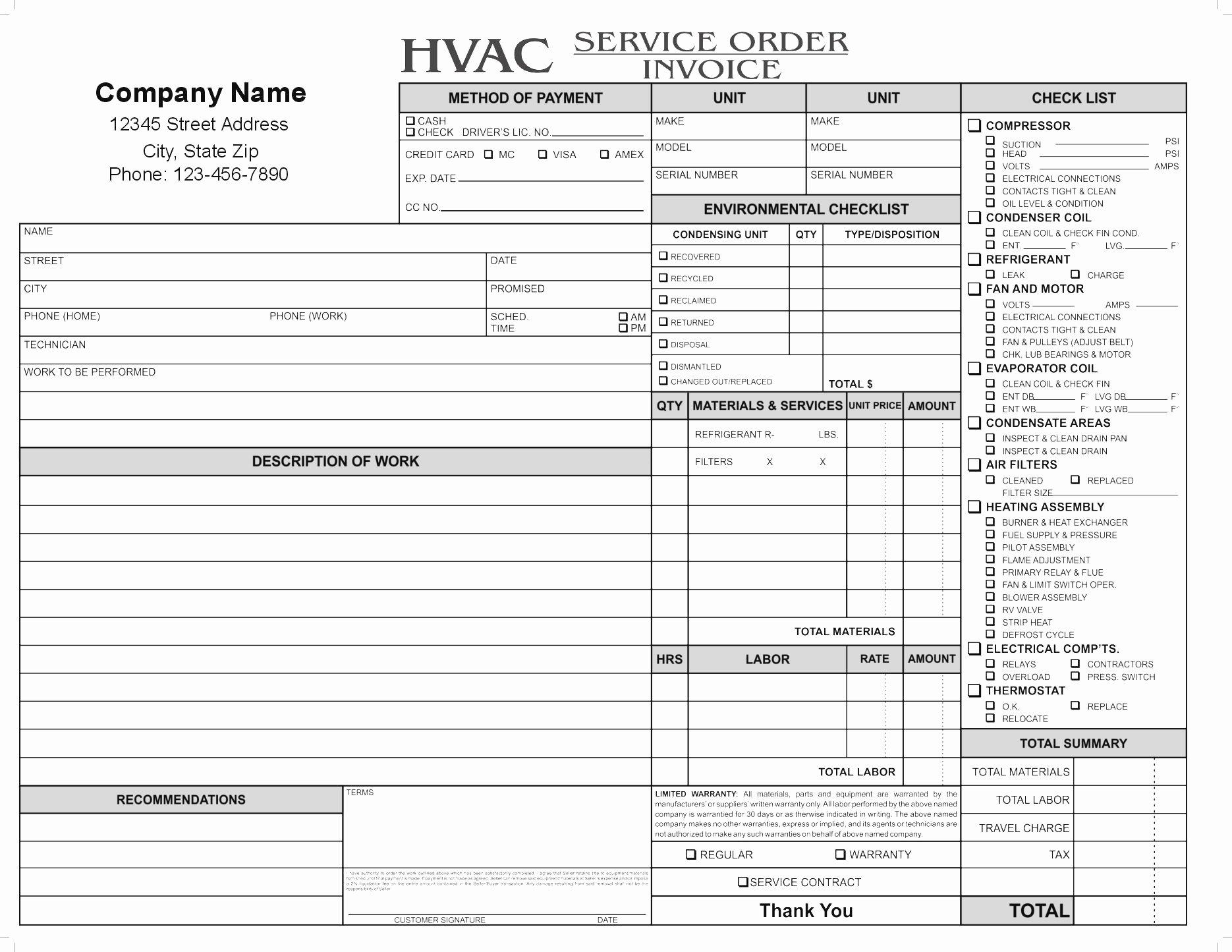 Hvac Service order Invoice Template Elegant Hvac Service order Invoice Template Ten Lessons that Will
