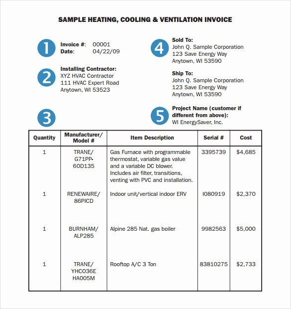 Hvac Service order Invoice Template Fresh 14 Hvac Invoice Templates to Download for Free