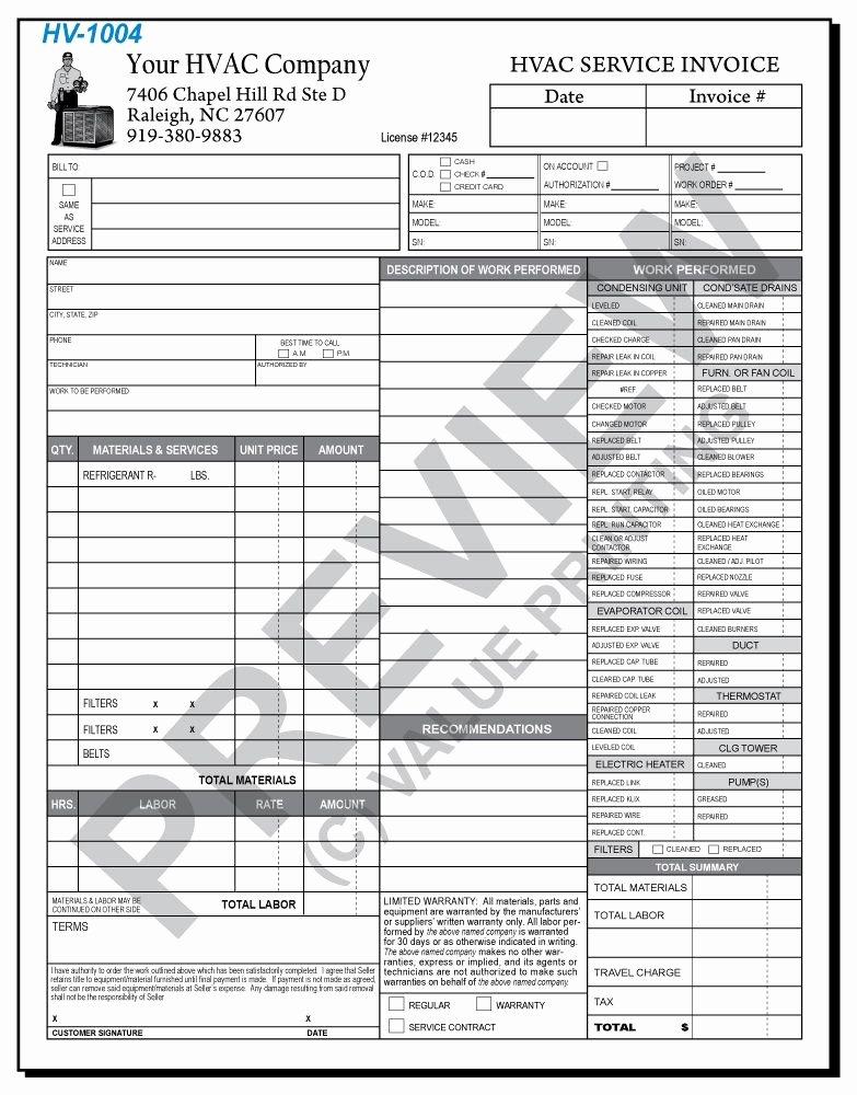 Hvac Service order Invoice Template Fresh Hv 1004 Hvac Time & Materials Work order Invoice 2