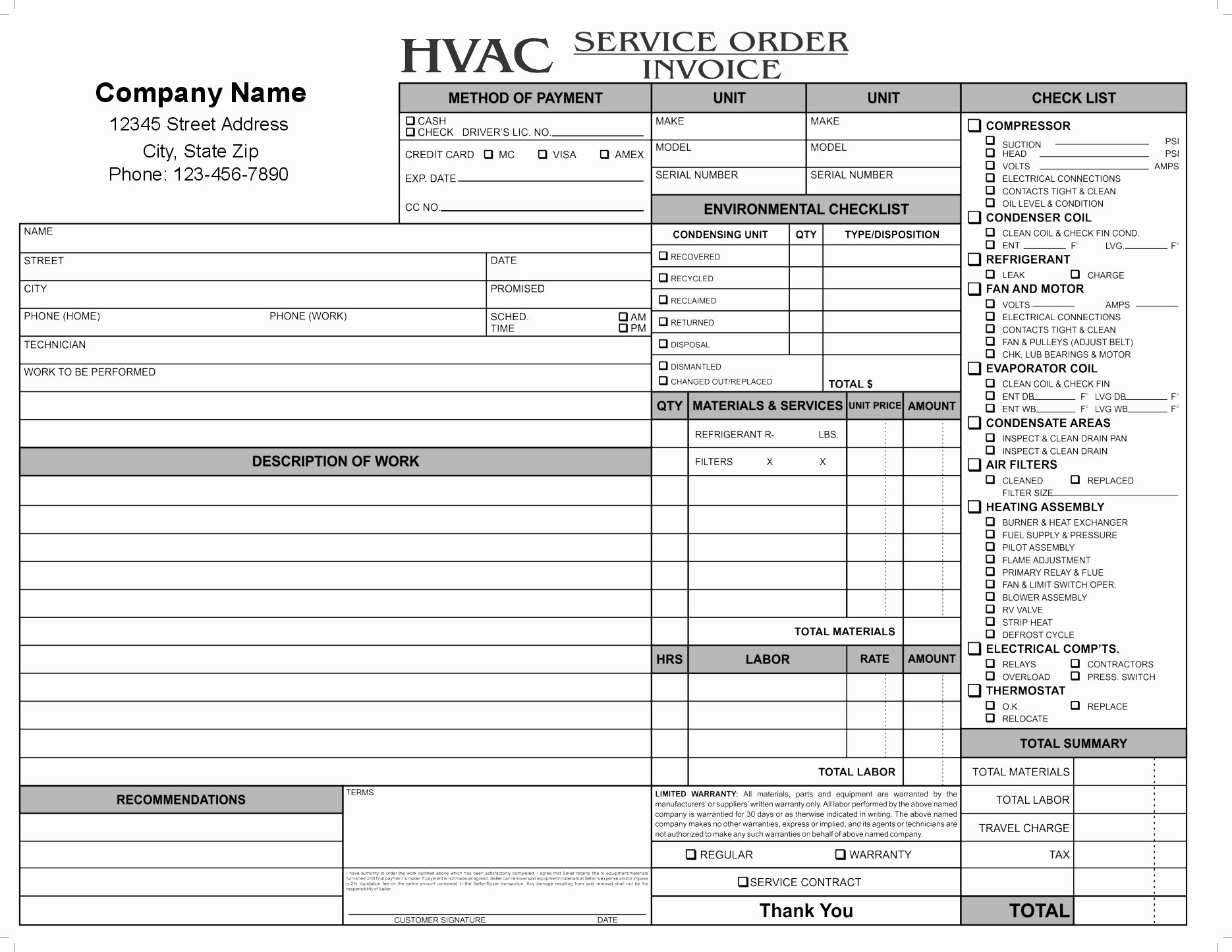 Hvac Service order Invoice Template Fresh Hvac Invoice forms Invoice Template Ideas