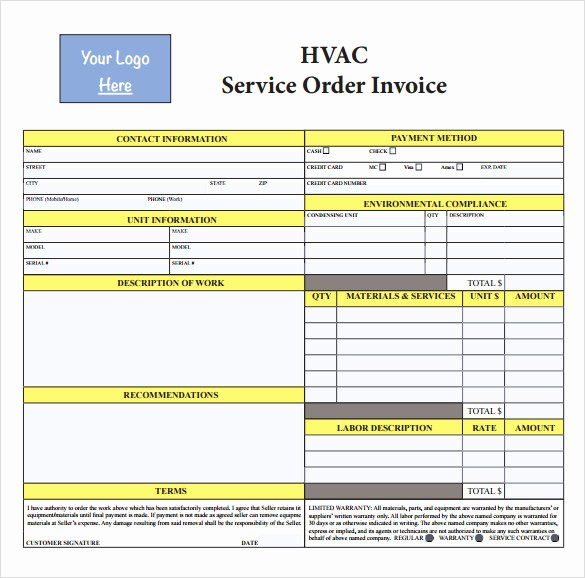 Hvac Service order Invoice Template Inspirational 14 Hvac Invoice Templates to Download for Free