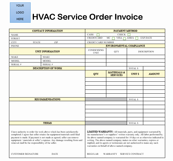 Hvac Service order Invoice Template Lovely 18 Free Hvac Invoice Templates Demplates