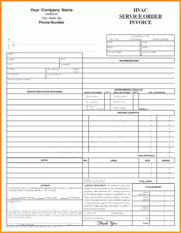 Hvac Service order Invoice Template Lovely Hvac Service order Invoice Template – Versatolelive