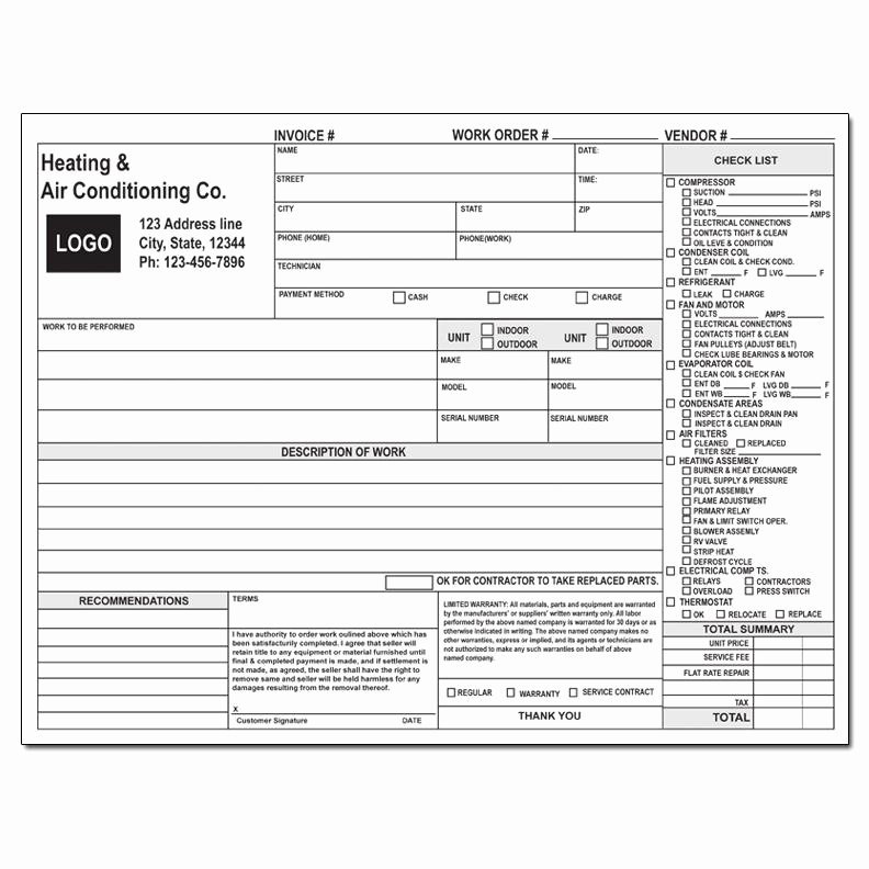 Hvac Service order Invoice Template Luxury Product Details