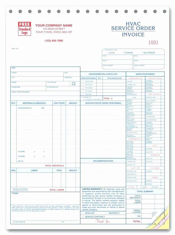 Hvac Service order Invoice Template Luxury Work orders order Print forms Invoice Template Free Hvac