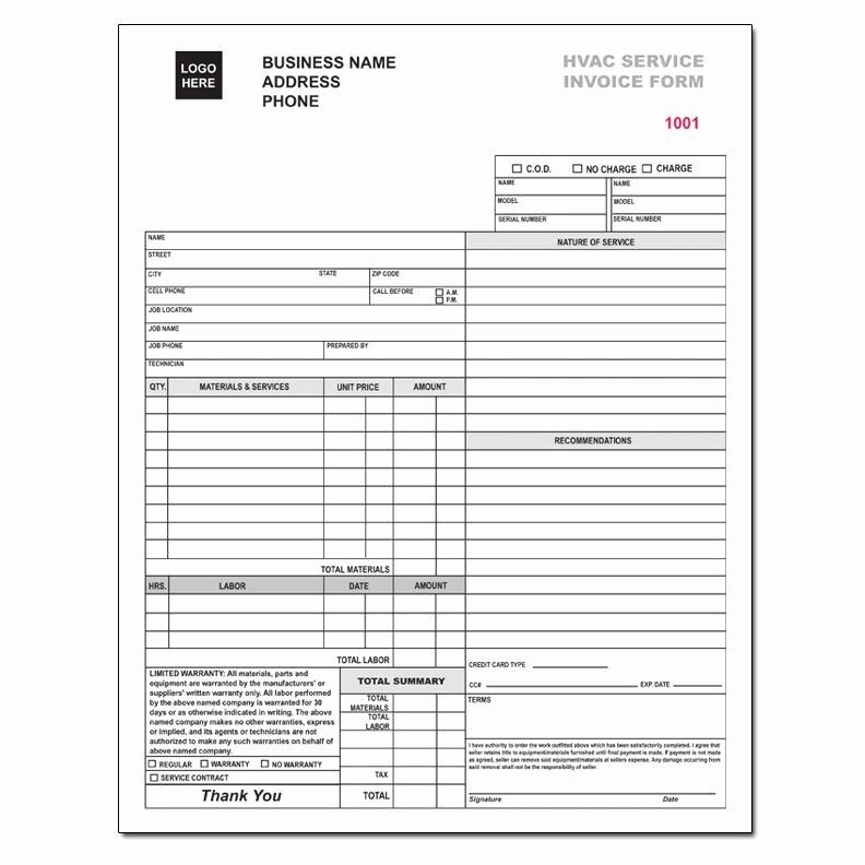 Hvac Service order Invoice Template New Hvac Service order Invoice Template