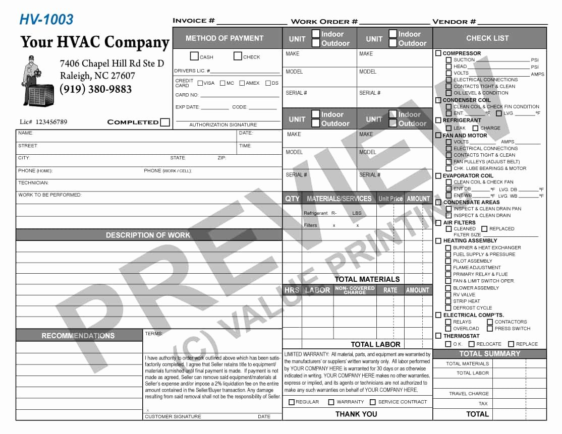 Hvac Service order Invoice Template Unique Hvac Invoicelate forms Sample Excel Service Free order