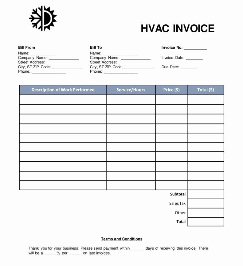 Hvac Service order Invoice Template Unique Resume Templates Fascinating Hvac Invoice Template form