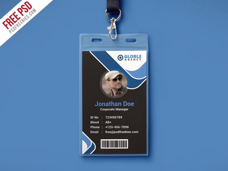 Id Badge Template Photoshop Elegant Free Psd Multipurpose Dark Fice Id Card Psd Template