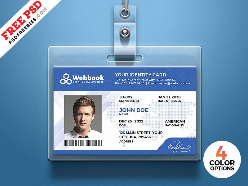 Id Card Template Photoshop New Free Id Card Template Psd Set