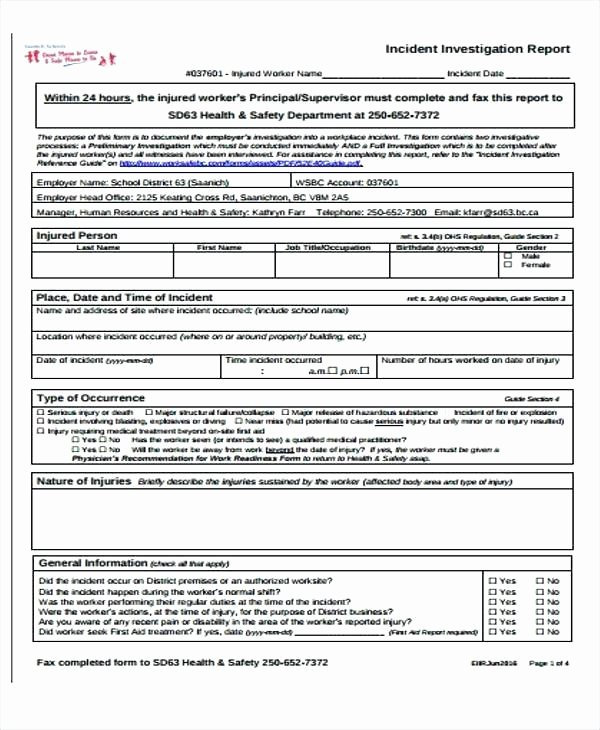 claim report template new sample incident form excellent accident reporting for insurance health and safety example sam