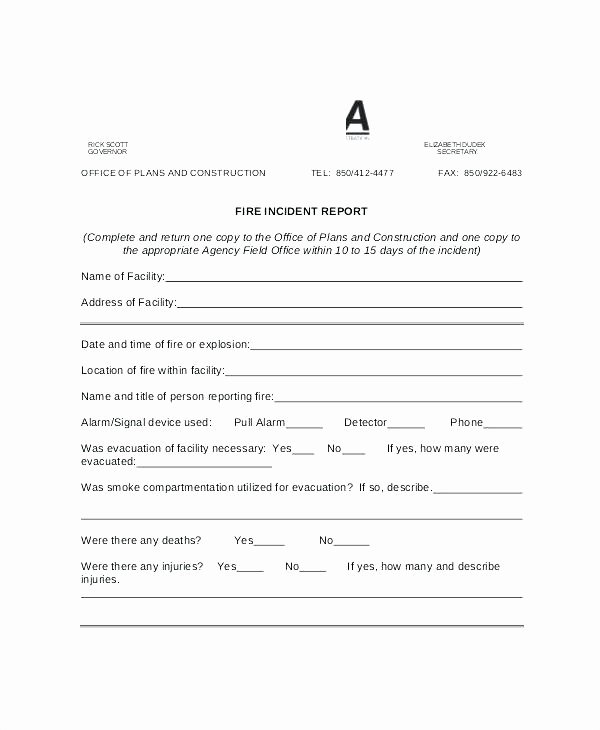 Incident Investigation Report Template Unique Fire Incident Report Template form Design