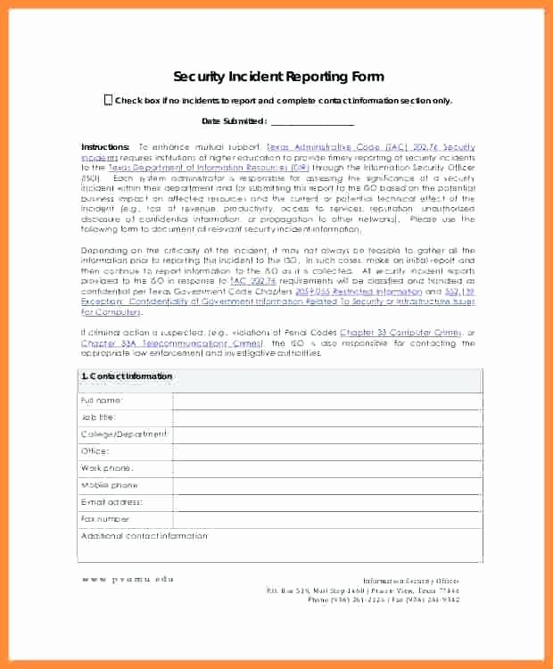 Incident Report Template Microsoft Inspirational Security Incident Report Template Microsoft Word It