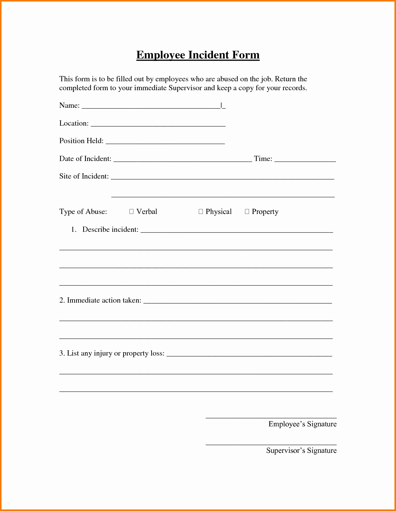 Incident Report Template Microsoft Luxury 7 Employee Incident Report Template