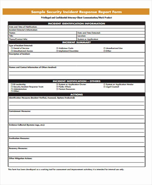 Incident Response Report Template Awesome 53 Incident Report Examples